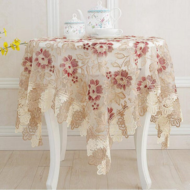 Top Elegant Embroidery Lace Tablecloth Past Home Decorative Table Cloth Linen Cover Round Ne