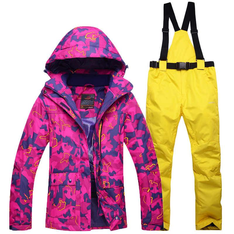 Женские зимние костюмы для спорта на открытом воздухе, лыжный костюм, одежда для сноуборда-30, зимняя непромокаемая камуфляжная куртка + комбинезон