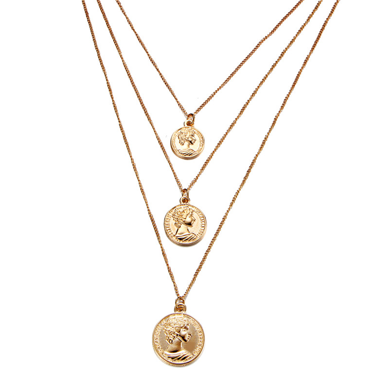 52fc68ebbdd LUFANG fashion Cute Simple Statement cross Maxi Round Coin Necklaces  Vintage multi-layered rosary pendant necklace Women Jewelry