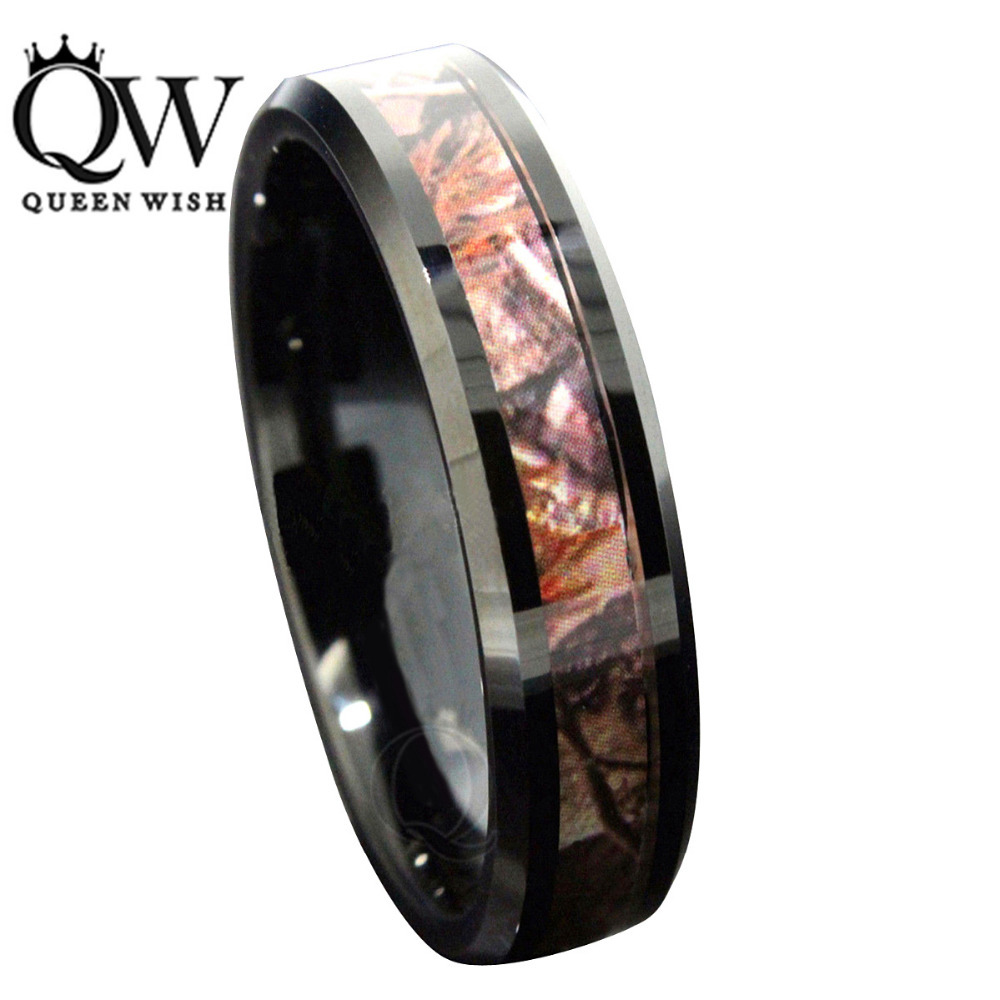 queenwish men style ring bijoux women bagues 6mm black tungsten mens red forest camouflage camo hunting - Camo Wedding Ring Set