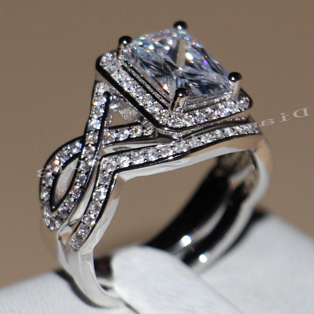 size 6 Princess Cut White Topaz Wedding Ring 10KT white Gold Filled Engagement