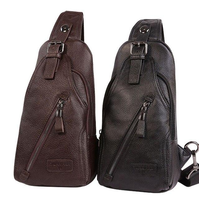 حقيبة كتف مفرد للرجال ذات جودة عالية مصنوعة من جلد البقر حقيبة ظهر بحمالة رافعة