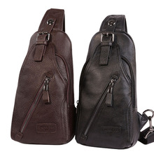 Men High Quality Leather Cowhide Fashion Chest Pack Sling Back Pack Riding Cross Body Messenger Single Shoulder Bag