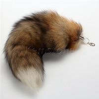 Natuurlijke Vossenbont Staart Sleutelhanger Tassel Handtas Hanger Accessoire Purse sleutelhanger 16