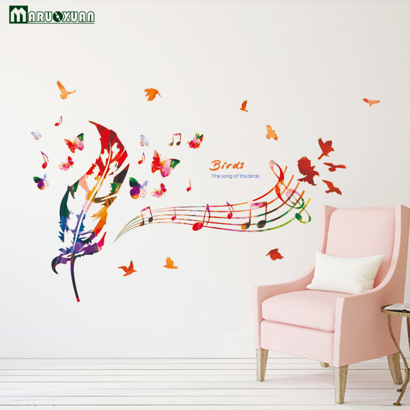 YunXi Creative DIY Colorful Music Feather Sticker Bedroom Living Room Background Decorative Wallpaper Wall Stickers 11971CM