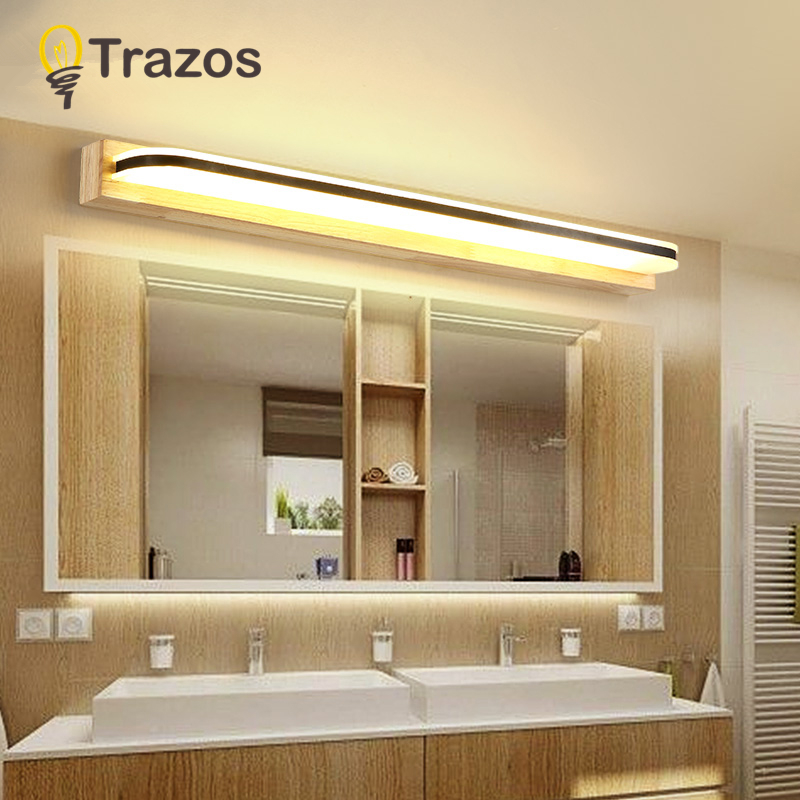 TRAZOS Wooden Wall light Bathroom Mirror Light Cool White Wall Sconces Lamp 220v Acrylic Cabinet Vanity Lighting
