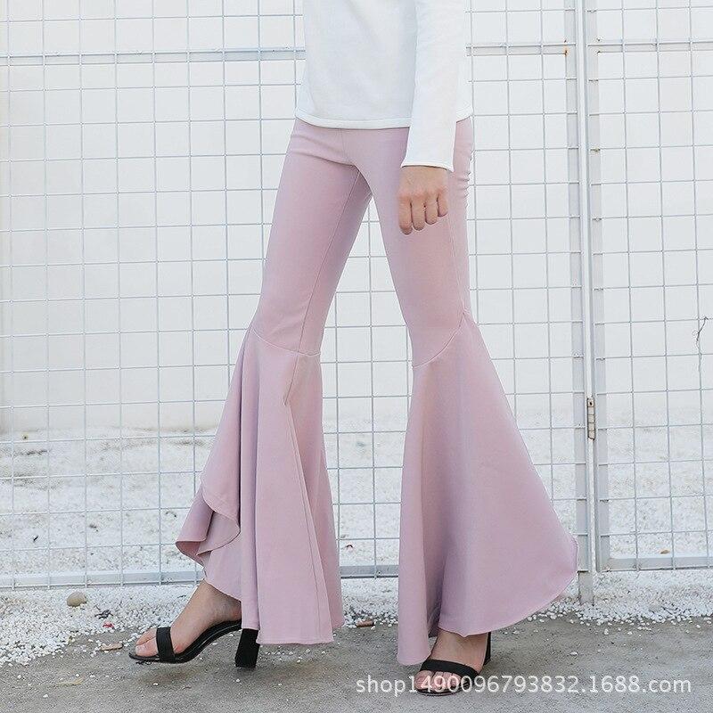 Cakucool Summer Spring Long   Pants   Fitness Ruffles Big Flare   Pant   Casual Slim Skinny European Full length   Capris     Pants   Female