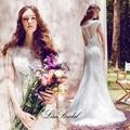 Nueva Llegada Vestido de Boda Blanco 2017 Del Escote Redondo Manga Del Casquillo de La Sirena de Encaje Tribunal Tren Vestidos de Novia Vestido de noiva sereia