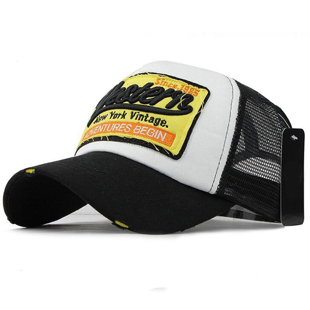 Initiative Classic Embroidered Letter Mesh Baseball Cap Sunshade Unisex Black Cap Z119