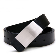 Fashion Faux Leather men's belt man Ceinture Buckle Belt shiny Metal Mens strap Free shipping
