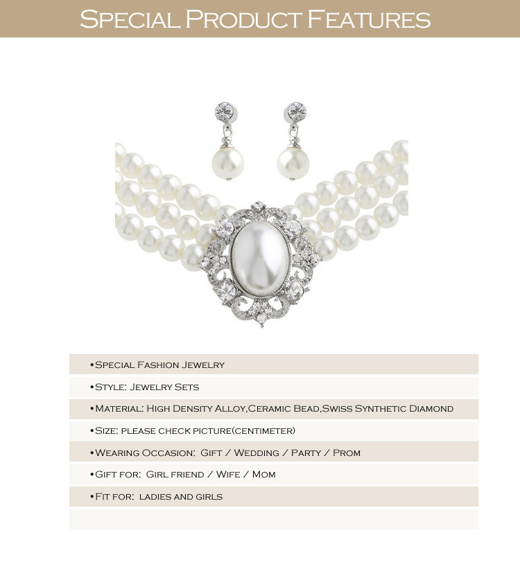 מיוחדת אופנה חתונה סט תכשיטי קרמיקה חרוזים שרשרות עגילי וינטג ' הצהרה פנינה תכשיטים עבור כלות TZ141102