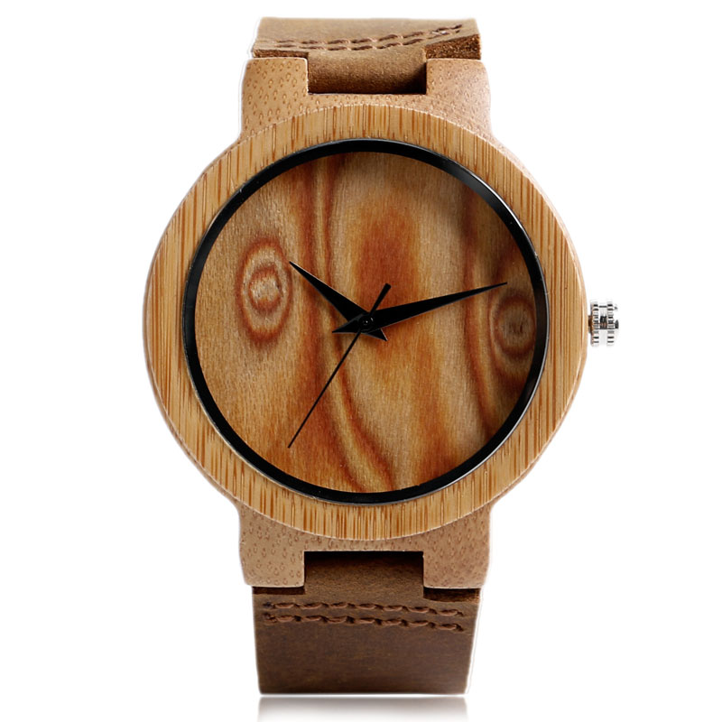 Casual Nature Wood Wrist Watch Genuine Leather Band B