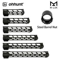 ohhunt AR15 Free Float M LOK 7 9 10 12 13.5 15 17 Handguard Steel Barrel Nut Picatinny Rail Ultra lightweight Slim Style