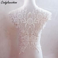 Ivory White Wedding Dress Beaded Lace Applique Neckline Collar Appliques Embroidery Lace Trim Fabric Cloth Sewing on Motif Patch