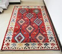 Kilim Wool Rug Embroidered Mandala Area Runner Carpet Geometric Carpet Bedroom Wool Knitting Carpets