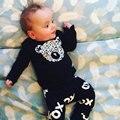 Новый 2017 повседневная новорожденный ребенок мальчик одежда высокого качества девочка одежда установить длинный рукав футболку + брюки хлопок черный 2 шт. костюмы