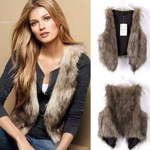 Women's Winter Faux Fur Vest Coat Short Colete Pele Female Fur Vests Coletes Femininos De Pele Free Ship