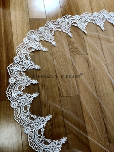 Image 3 - Real Photos 3M White/Ivory Beautiful Cathedral Length Lace Edge Wedding Bridal Veil With Comb Wedding Accessories MD3084