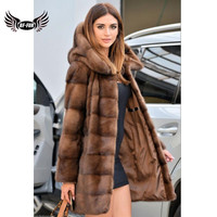 BFFUR Top Grade Mink Coats For Women Winter Sale Luxury Fashion Slim Real Fur Coat Full Pelt Party Evening Genuine Fur Casual