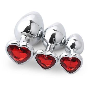 Red metal anal plug red box 3 sizes