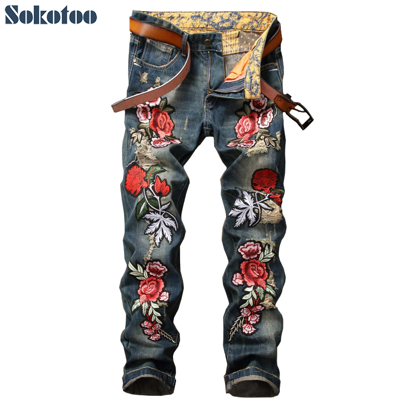 Sokotoo Men's flower embroidery patch ripped   jeans   Casual hole slim straight distressed denim pants