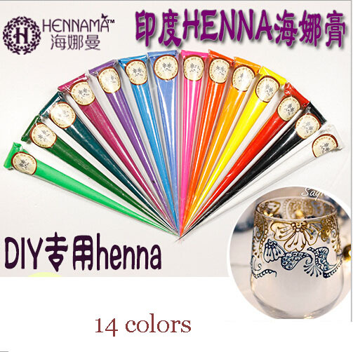 Indian mehndi henna tattoo sticker paste pen DIY hand painted 14 colors professional women body art makeup white black gold