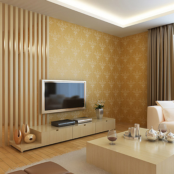 Shining glitter vintage gold 3d wallpaper wall decor wall for Meuble mural wall