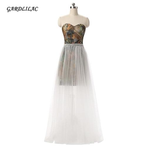Gardlilac Camo Abito da sera Tulle A-Line Illusion Vestito da cerimonia formale Da spalla Abiti da sera