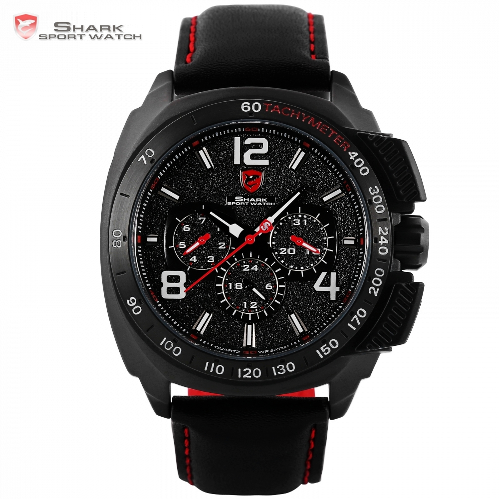 Tiger Shark Sport Watch Luxury Brand Men Red 6 Hands Quartz Date 24Hr Casual Leather Band