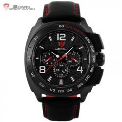 Tiger Shark Sport Watch Luxury Brand Men Red 6 Hands Quartz Date 24Hr Casual Leather Band Military Relogio Masculino Clock/SH417