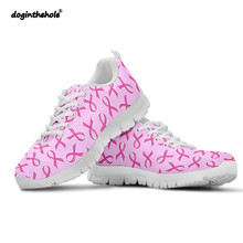 Doginthehole Women Walking Shoes Breast Cancer Awareness Pattern Outdoor Fitness Sports Ladies Comfortable Nuring Female
