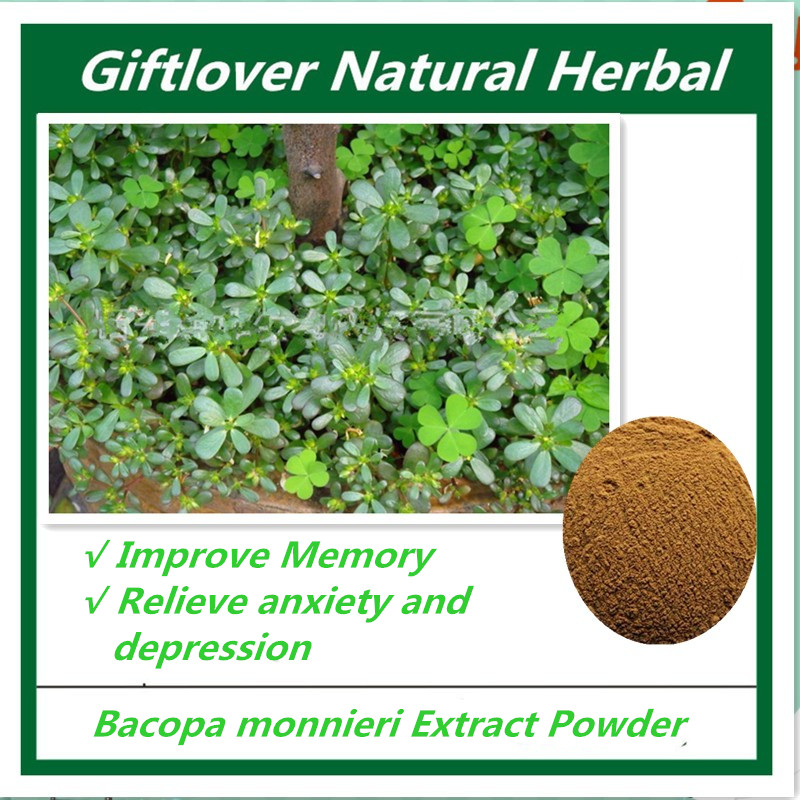 Pure Bacopa Monnieri Extract powder,Support mood, memory, Focus and attention,Fight against anxiety and depression,free shipping anxiety and depression in patients with myocardial infarction