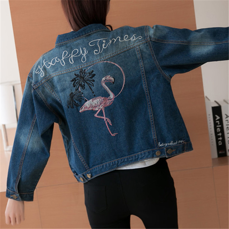 2018 Autumn Female Jean   Jacket   Casual Double Pocket Decorated Denim Dacket Clothing Embroidery Women Loose   Basic     Jacket   Coat