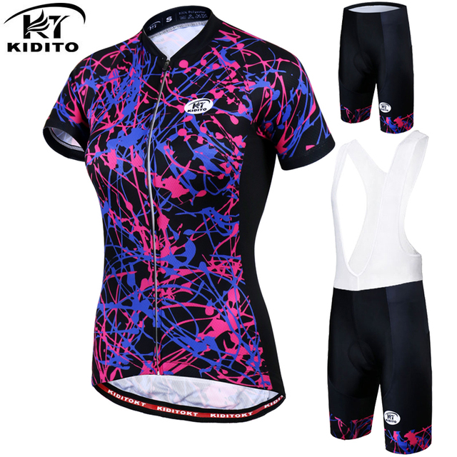 KIDITOKT Women Cycling Jersey Set Summer Quick-Dry Anti-UV MTB Bike Cycling  Clothing Breathable Bicycle Cycling Clothes Suit 715ddb50d