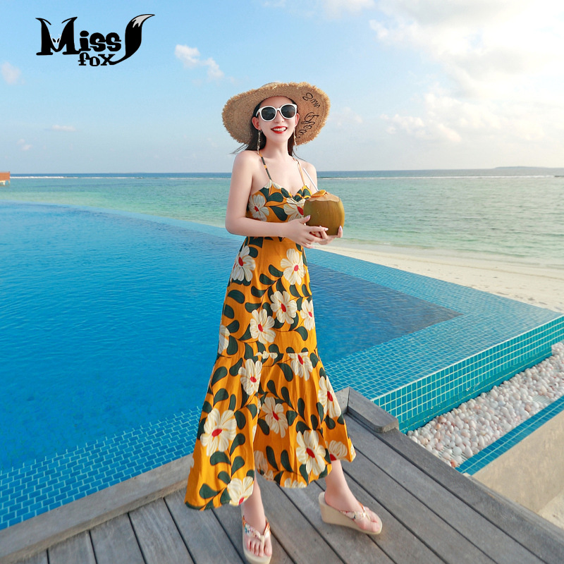 Miss Fox 2019 Women Summer Dress Bohemian Sexy Elegant Women Party Night Beach Yellow Sling Print Long Dress Plus Size