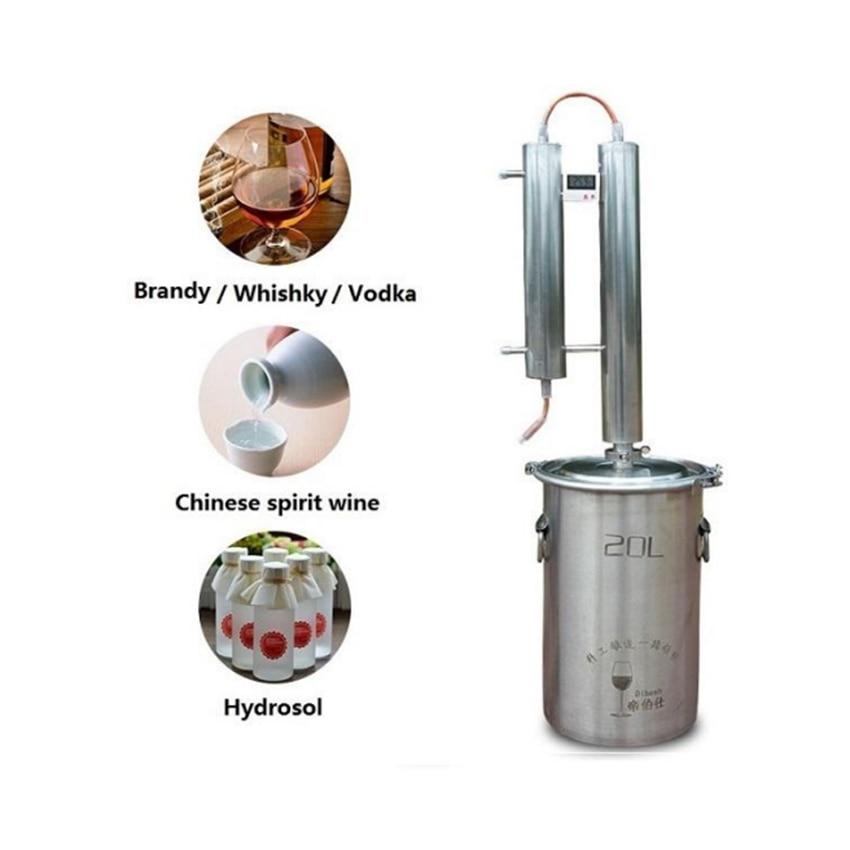 20L Moonshine Alcool Distillateur Pour Home Brew Faire La Vodka destilador de 304 En Acier Inoxydable & Rouge Cuivre Alcool Mashine