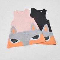 Girls Infant Dress Cartoon Fox Design Pink&Black Kids Dress Fashion Europe Casual Style Children Teen Girl Clothes Vestido 6 12Y