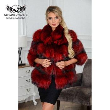 2021 winter new women real fox fur jackets short luxury whole skin genuine fox fur coat yellow color fashion natural fur coats Tatyana Furclub Luxury Real Fur Coat for Women Palace Real Fox Fur Jackets With Collar Thick Warm Fox Fur Coat Outerwear Womens