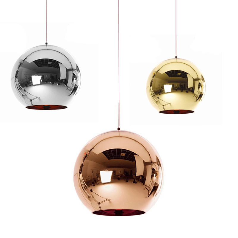 Modern LED Chandelier Pendant Handing Ceiling Lamp Light Glass Ball Copper/Sliver/Gold Shade Inside Mirror E27 Bar Kitchen