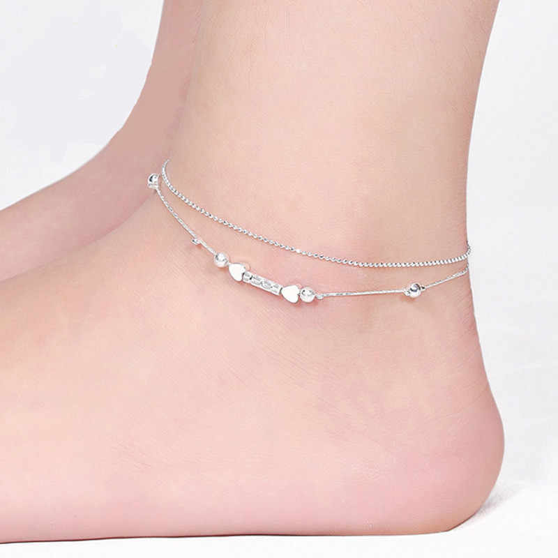 Bracelets on the feet Gussy Life Wholesale Girl Simple Heart Ankle Bracelet Chain Barefoot Beach Foot Party Jewelry pesca 533