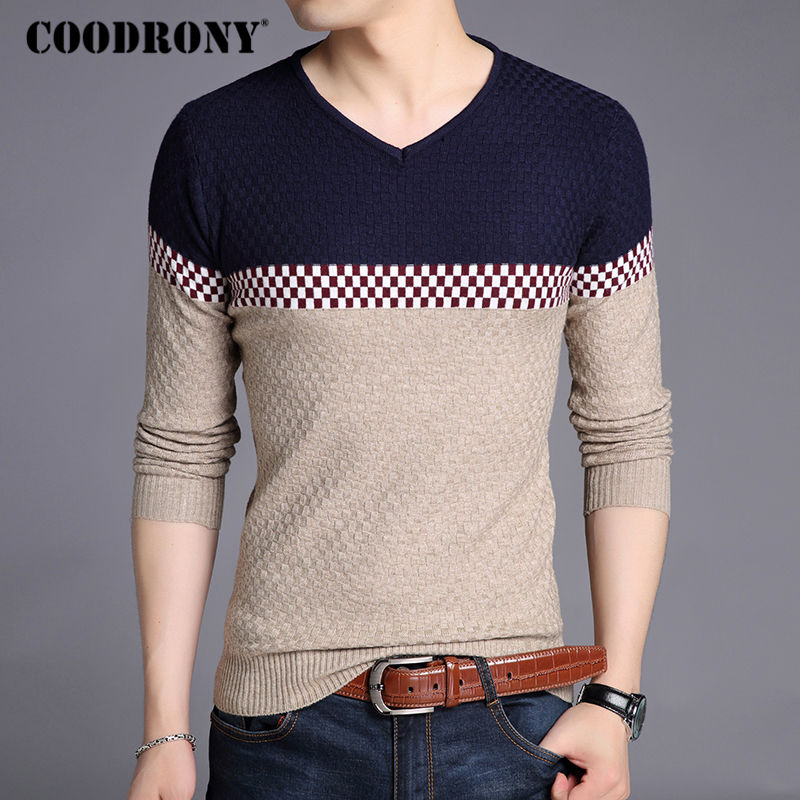 COODRONY Sweater Men Pullover Shirt V-Neck Patchwork Knitted Casual New Thin 213