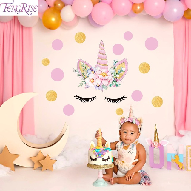 FENGRISE Unicorn Wall Sticker Birthday Party Decoration Kids Favors Set Supplies DIY Baby Room Decor Decals