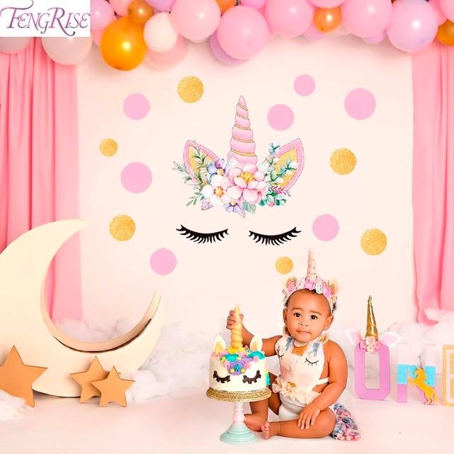 Fengrise Unicorn Wall Sticker Birthday Party Decoration Kids Unicorn