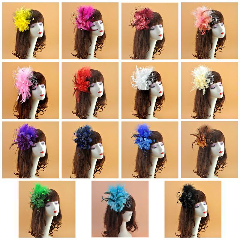 Womens Bridal Wedding Fascinator Mesh Veil Hat Flower Plush Wave Point Hair Clip Feather Beaded Cocktail Brooch   Headwear