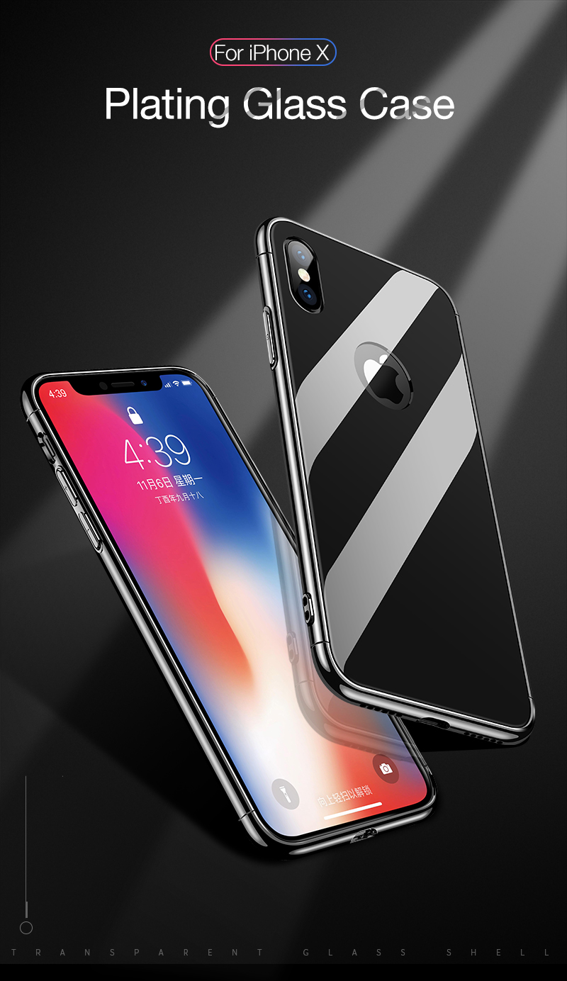 CAFELE Luxury Case For iPhone X 10 plating frame Tempered 3 in 1 Glass Ultra Thin color Glass Back Cover For iPhones X 10 Cases