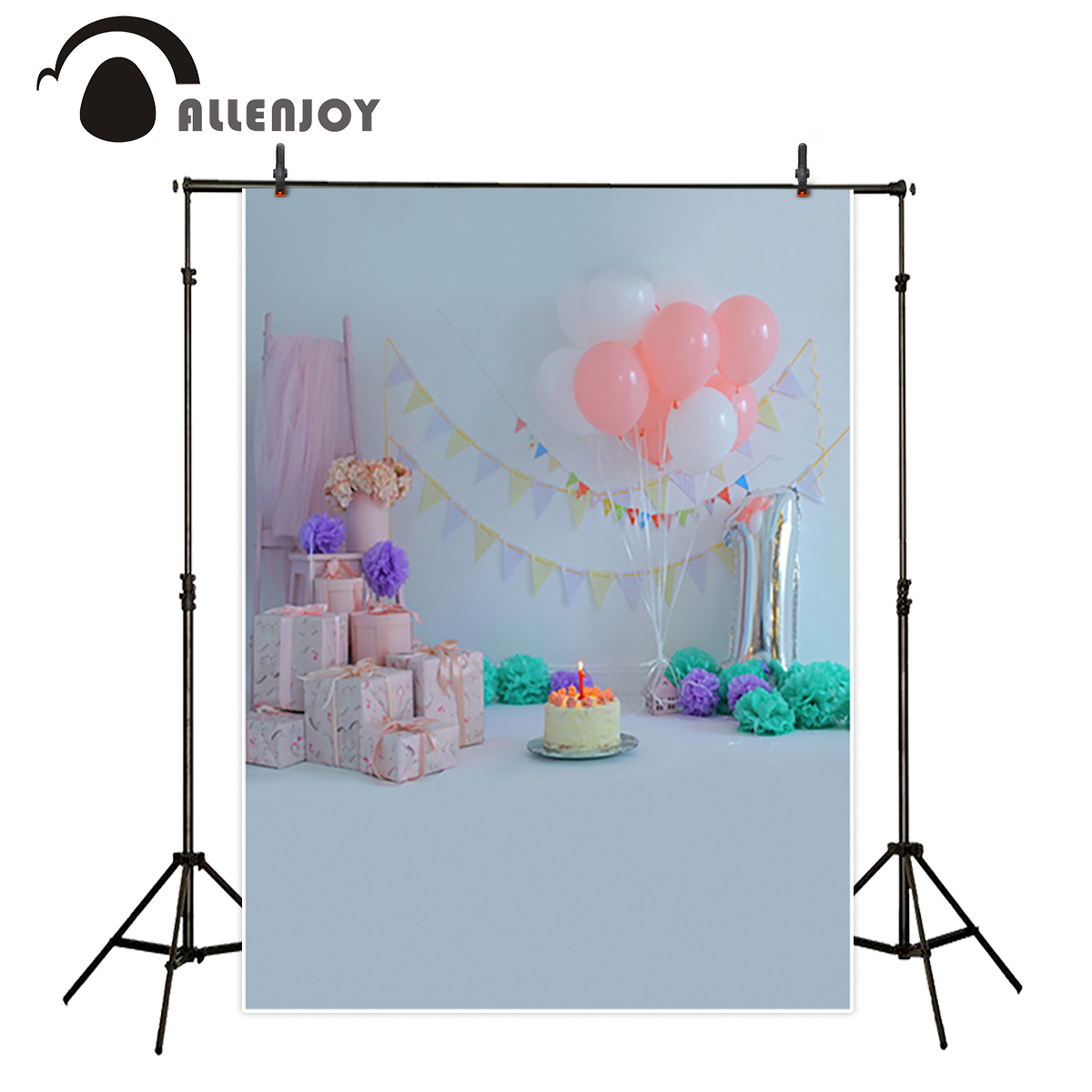 Allenjoy studio Photo background festive celebrate lovely gift for boy or girl birthday photocall cake beautiful backdrop