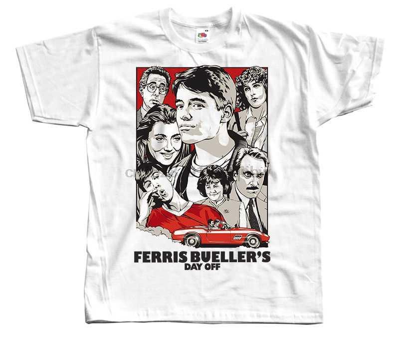 Ferris Bueller Hari V1 Poster Film T-SHIRT WHITE Semua Ukuran S-3XL Dicetak T Shirt 2018 Merek Fashion Top Tee baru