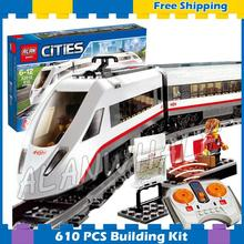 610pcs City Motorized Remote Control High-speed Passenger Train RC 02010 Model Building Blocks Gifts sets Compatible With Lego