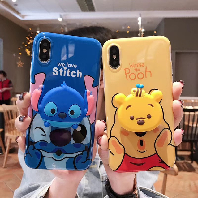 new style 019d6 c0e46 Luxury cute 3D Stitch Winnie Pooh bear ring holder silicone phone case for  iphone 7 6 8 S plus X XR XS MAX for samsung S8 S9