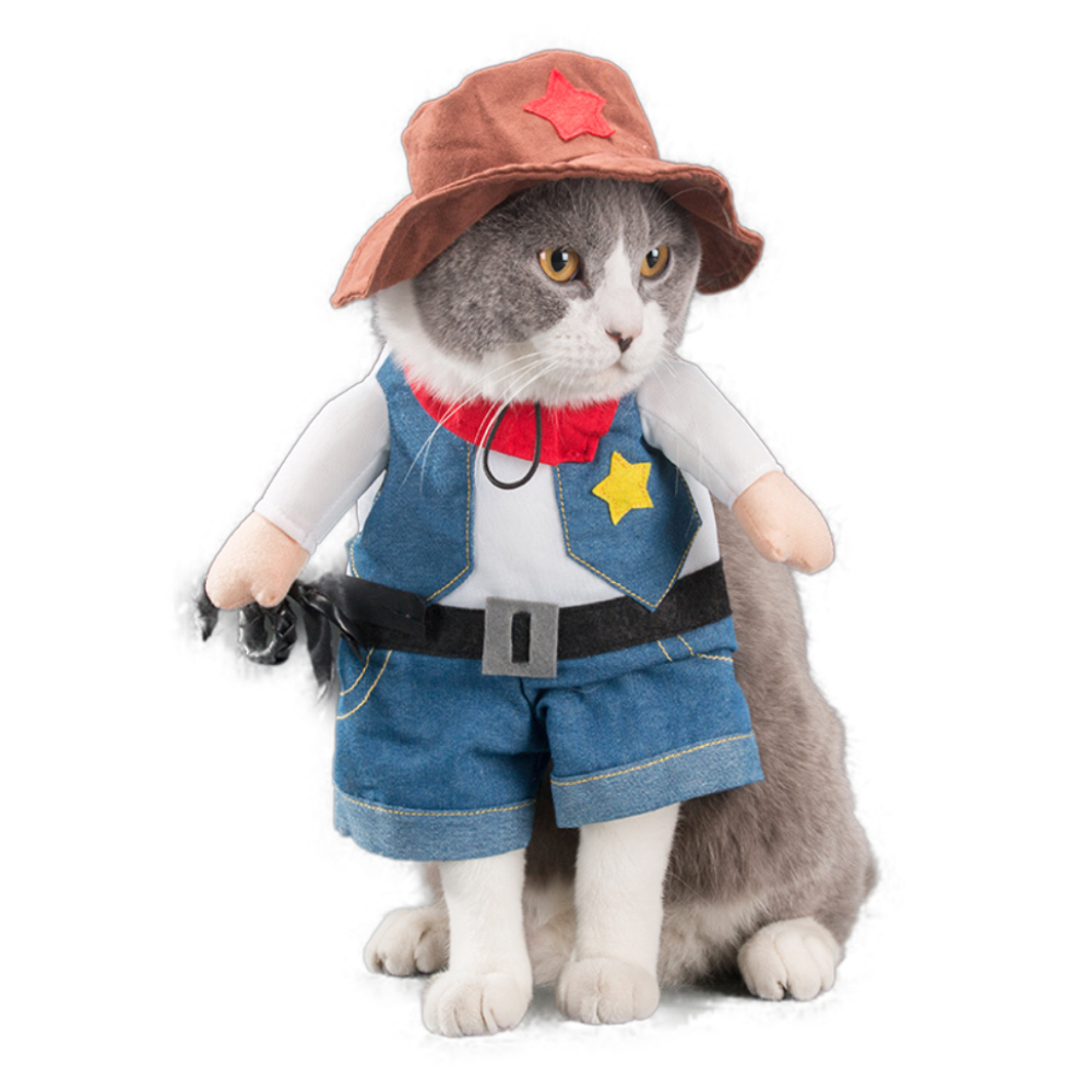 Funny Pet Cat Costumes Cowboy Western Cosplay Suit Halloween Christmas Party Apparel Clothes For Puppy Dog Costume for a cat